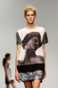 Silk and leather print T-shirt