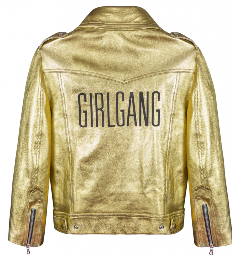 The Original Sarah Baily 'GIRLGANG' Leather Jacket in gold