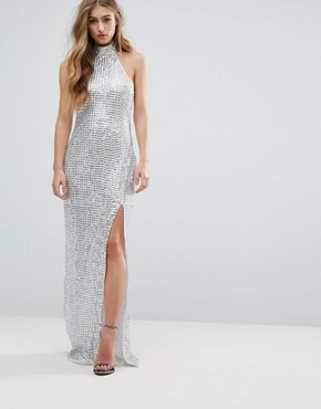 Missguided Peace + Love Metallic Studded Side Split Maxi Dress