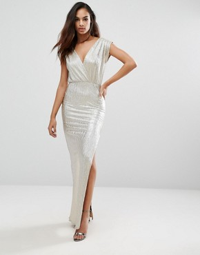 Rare London Metallic Plunge Maxi Dress